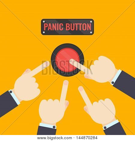Businessmen pressing panic button on yellow background. Social media button. Start up business concept. Vector illustration of a red emergency stop button.Touch, push or press symbol.