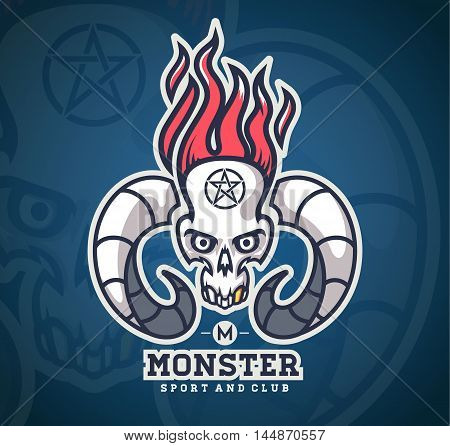 Logo skull with horns of animals. And a flame on top. logo for motor club. logo sport club and symbol.