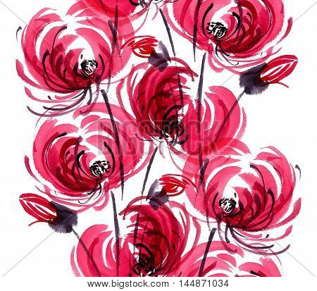 Watercolor and ink illustration of red chrisanthemium fowers and buds. Oriental traditional painting in style sumi-e gohua. Decorative seamless patterns.