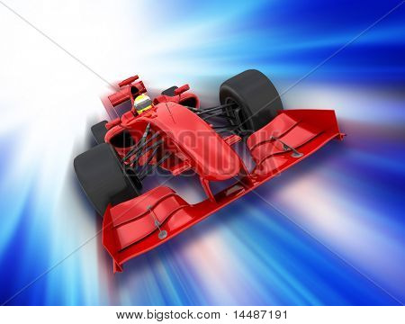 3D render of a formula one car on a motion background poster