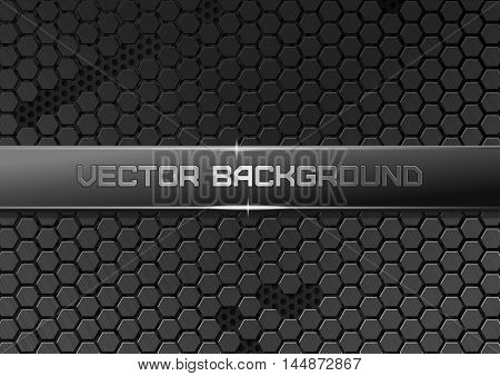 Metallic backdrop with hexagon grid. Carbon metallic pattern. Geometric metallic background. Carbon steel honeycomb. Vector futuristic background