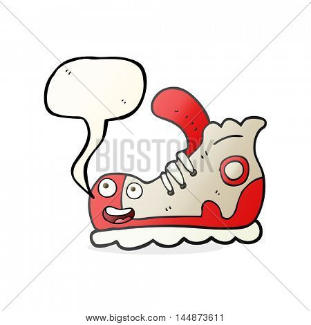 freehand drawn speech bubble cartoon sneaker