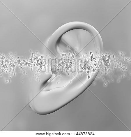 3D render of a close up of an ear with music notes