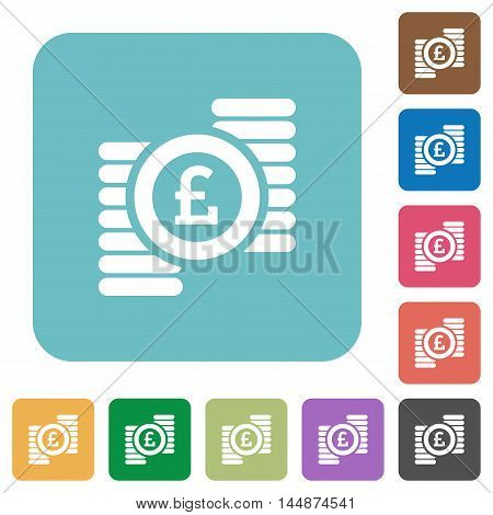 Flat Pound coins icons on rounded square color backgrounds.