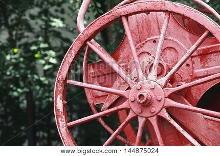 Red Reel On Vintage Fire Engine, Closeup Photo