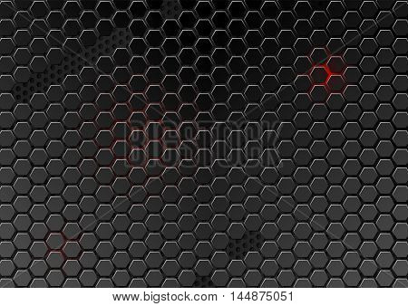 Metal cell composed of hexagons. Abstract geometric metallic background. Carbon steel honeycomb. Futuristic wallpaper