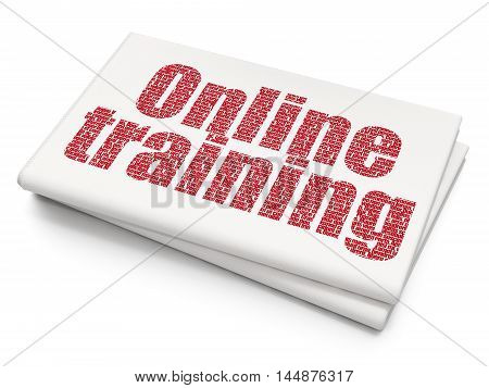 Studying concept: Pixelated red text Online Training on Blank Newspaper background, 3D rendering
