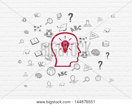 Education concept: Painted red Head With Lightbulb icon on White Brick wall background with  Hand Drawn Education Icons