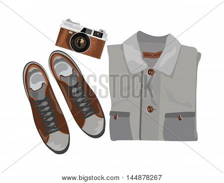 Vector Shirt and shoes and vintage camera. Set of trendy mens shoes and accessories. Male wardrobe. Vector illustration