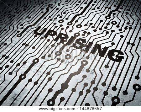 Politics concept: circuit board with  word Uprising, 3D rendering