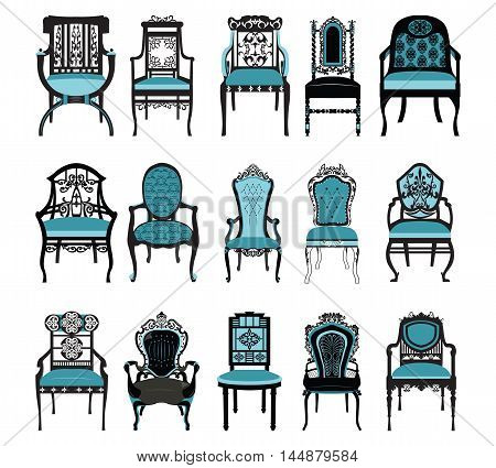 Vintage Chair furniture set collection  Vector. Rich carved ornaments furniture. Vector Victorian Style furniture. Royal blue color sketch