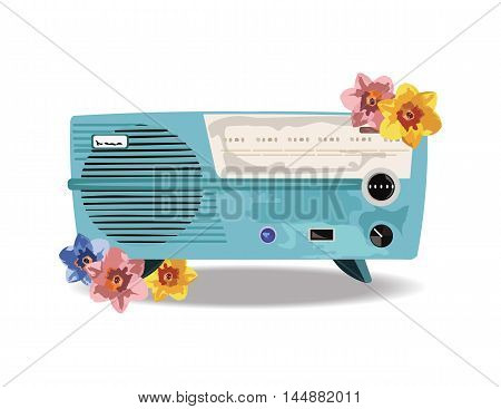 Vintage Retro music Radio with flowers ornaments Vector