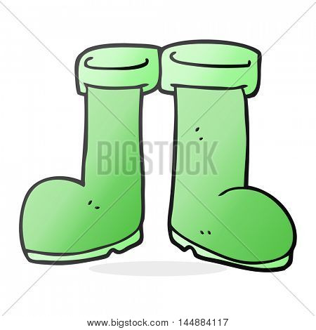 freehand drawn cartoon wellington boots