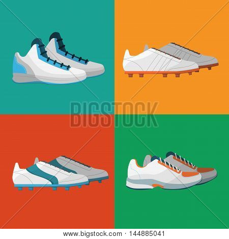 Sport shoes icons vector illustration set. Various sneakers for different sports on color background. Athletic equipment. Sportwear symbols