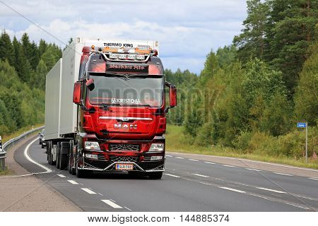 JALASJARVI, FINLAND - AUGUST 14, 2016: Show truck MAN TGX Sweet 666 of Markku Rio on rural road after taking part in the annual trucking event Power Truck Show 2016 in Alaharma Finland.