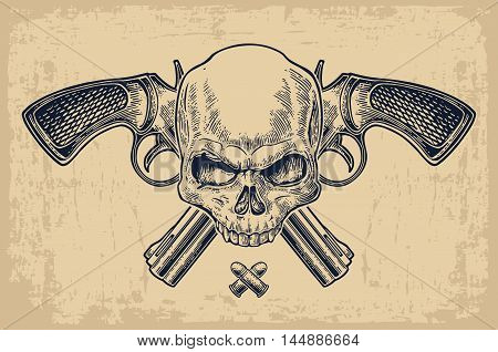 Two crossed revolver with bullets and skull. Vector engraving illustrations. Isolated on beige vintage background. For tattoo web shooting club and label