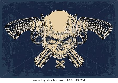 Two crossed revolver with bullets and skull . Vector engraving illustrations. Isolated on dark blue vintage background. For tattoo web shooting club and label