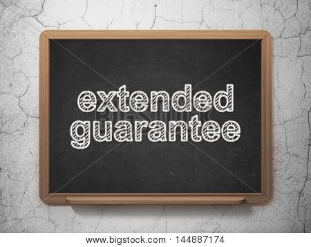 Insurance concept: text Extended Guarantee on Black chalkboard on grunge wall background, 3D rendering