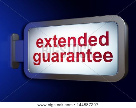Insurance concept: Extended Guarantee on advertising billboard background, 3D rendering