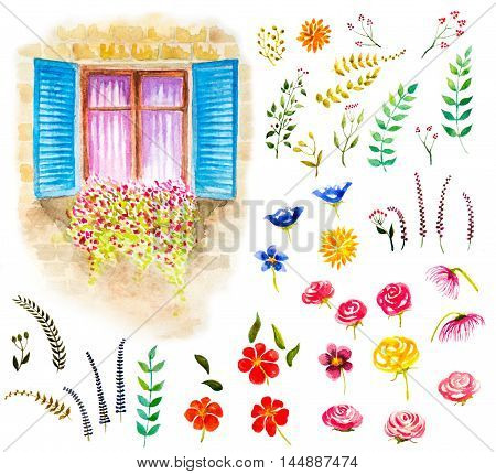 watercolor set of floral elements and window with flowers