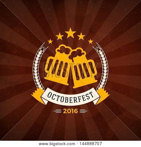 Retro Vintage Design Element For Brewery Badge, Logotype, Label. Octoberfest Celebration Design. Vec