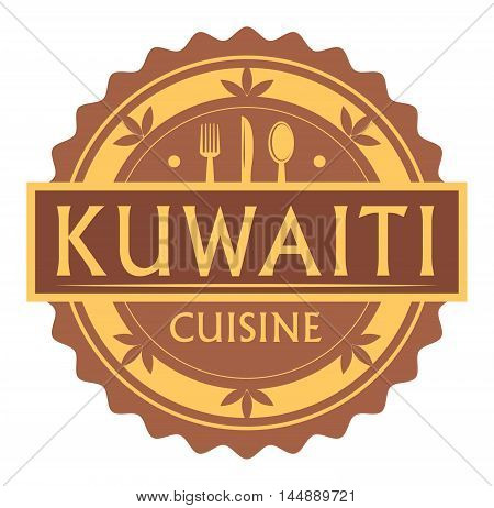 Abstract stamp or label with the text Kuwaiti Cuisine written inside, traditional vintage food label, with spoon, fork, knife symbols, vector illustration
