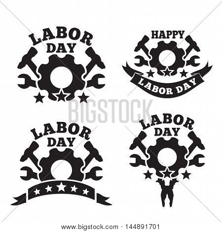 Set Labor Day logo design isolated on white background. Labor Day a national holiday of the United States. American Labor Day