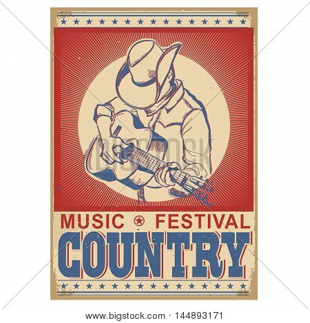 Music Festival Background With Musician Playing Guitar.