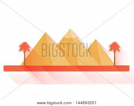 Egyptian Pyramids In Flat Style With Long Shadows On White Background. Landscape With The Egyptian P