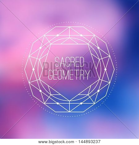 Sacred geometry vector sign on colorful blurred background. Hipster and alchemy design element or Flower of life mystic symbol