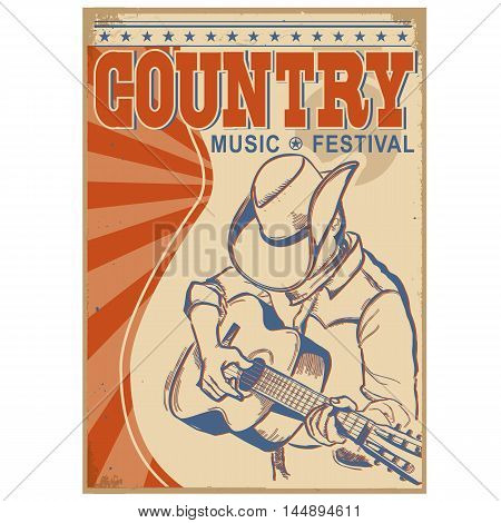 Country Music Background With Text.musician In Cowboy Hat  Playing Guitar