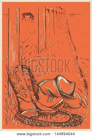 American Ranch With Cowboy Boots And Hat.