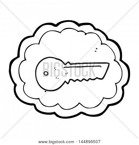 freehand drawn black and white cartoon door key