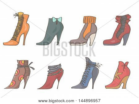 Set of colorful, stylish female boots. Vector collection of high heels booties on white background.