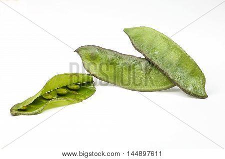 Helda flat romano bean green on white background