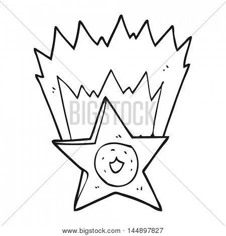 freehand drawn black and white cartoon sheriff badge