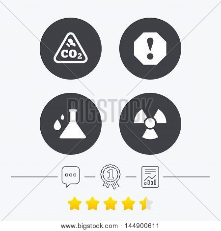 Attention and radiation icons. Chemistry flask sign. CO2 carbon dioxide symbol. Chat, award medal and report linear icons. Star vote ranking. Vector