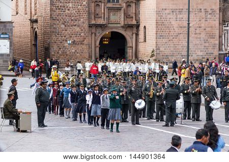 Swearing Of The School Police Or Juramentacion De La Policia Escolar En Cusco