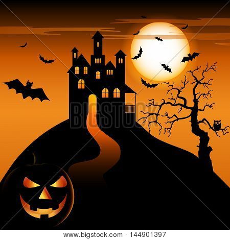 Halloween night with haunted castle and grinning pumpkin vector eps 10