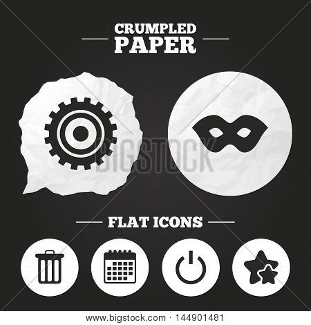 Crumpled paper speech bubble. Anonymous mask and cogwheel gear icons. Recycle bin delete and power sign symbols. Paper button. Vector