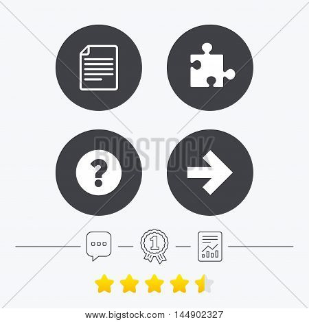 Question mark and puzzle piece icons. Document file and next arrow sign symbols. Chat, award medal and report linear icons. Star vote ranking. Vector