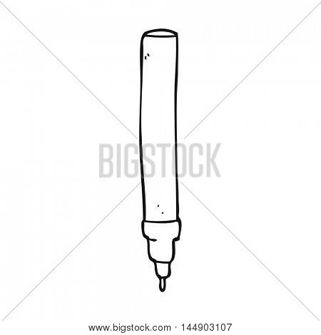 freehand drawn black and white cartoon fineliner pen