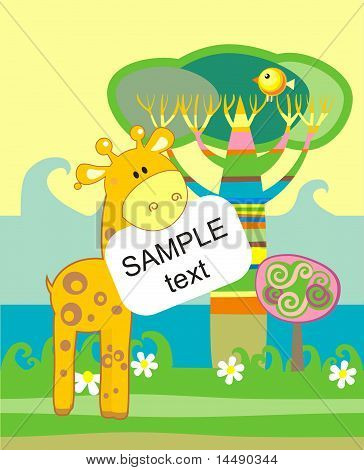 Baby arrival announcement card with giraffe and tree poster