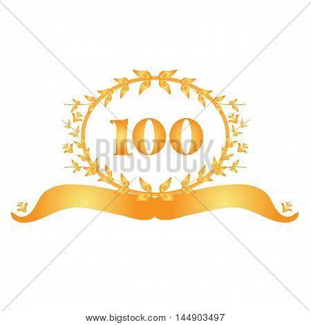 100th anniversary golden floral banner design element
