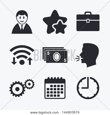 Businessman icons. Human silhouette and cash money signs. Case and gear symbols. Wifi internet, favorite stars, calendar and clock. Talking head. Vector poster