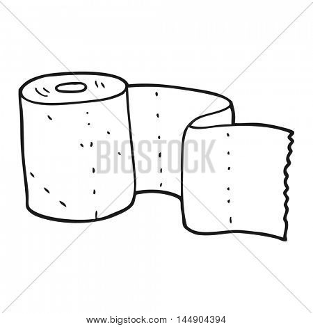 freehand drawn black and white cartoon toilet roll