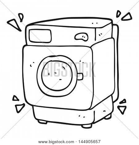 freehand drawn black and white cartoon rumbling washing machine