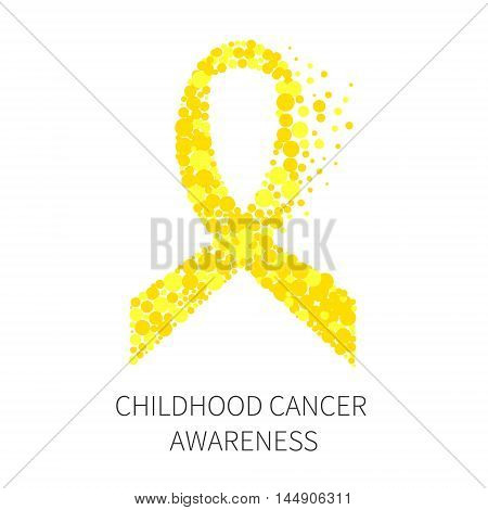 Yellow ribbon made of dots on white background. Childhood cancer awareness symbol. Stop Cancer. Isolated vector illustration.