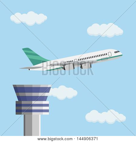 Airport control tower and flying civil airplane after take off in blue sky with clouds. Vector illustration in flat design.