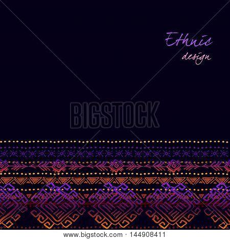 Dark horizontal seamless border with tribal ornament ethnic stripes in black background. Geometric colorful design. Vector illustration stock vector.